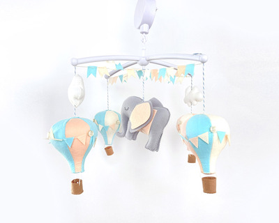 Hot air balloon cot mobile peach and blue thumb