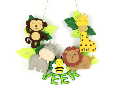 Personalised wild jungle animal wall hanging thumb