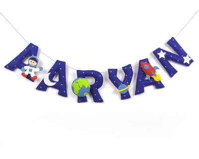Personalised space name bunting garland thumb