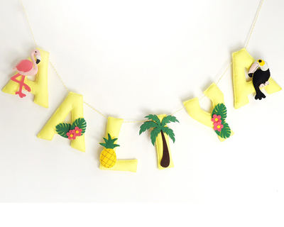 Personalised tropical name bunting thumb
