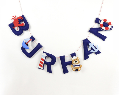 Personalised nautical name bunting thumb