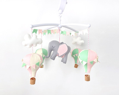 Pink mint hot air balloon cot mobile thumb