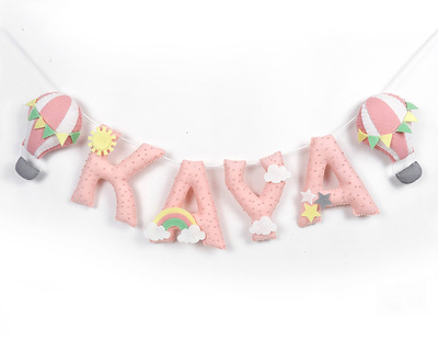 Personalised hot air balloon embellished name bunting thumb