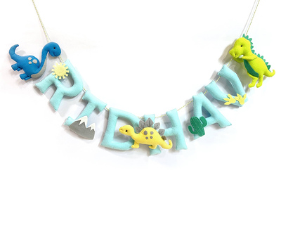 Personalised dinosaur name bunting garland thumb