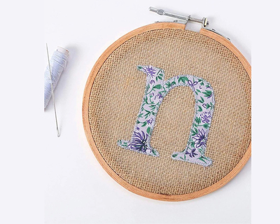 Alphabet embroidery hoop wall hanging n thumb