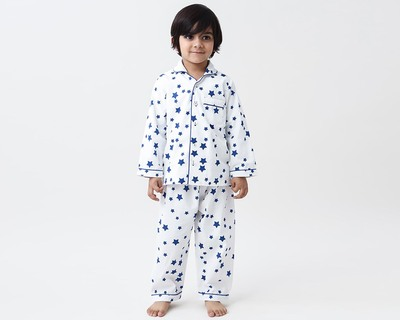 Navy stars pajama set thumb