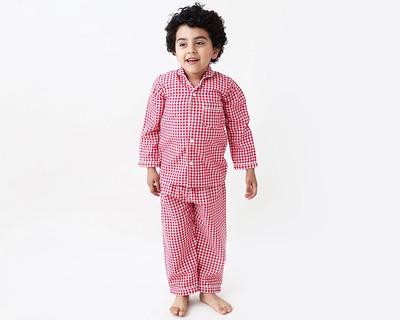 Classic red gingham kids pajama set thumb