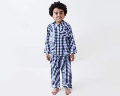 Classic navy gingham kids pajama set thumb