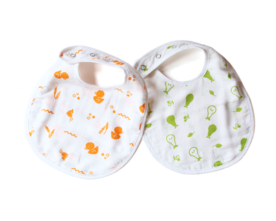 Organic muslin bibs duck and pear thumb