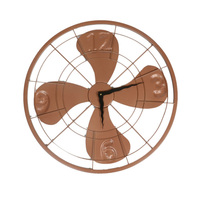Metal fan wall clock brown small