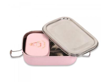 Rectange unicorn print kids lunch box with small dibbi light pink thumb