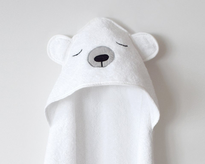 Polar bear organic cotton hooded towel white thumb