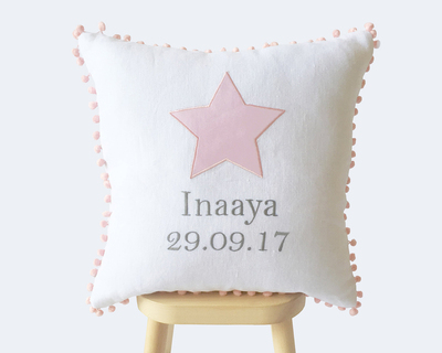 Masilo personalised name birth date cushion 58 mdcush pink pom date thumb