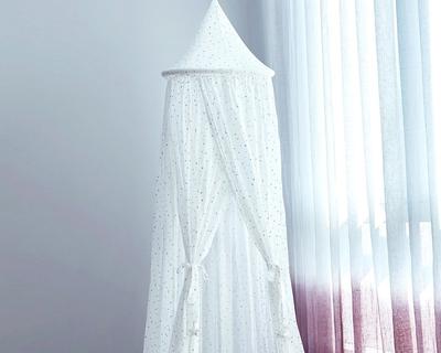 Metallic printed 100 cotton sleep play canopy white thumb