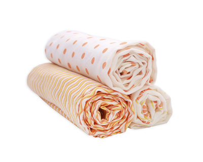 Set of 3 swaddles white beige thumb