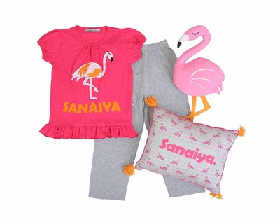 Personalized flamingo nightsuit and cushion set thumb