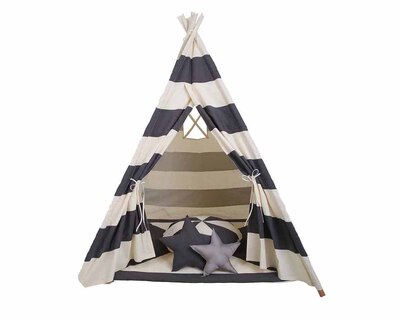 Pretend play tee pee with matching mat and cushion black stripes thumb