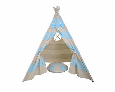 Pretend play tee pee with matching cushion blue stripes thumb
