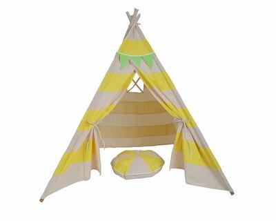 Pretend play tee pee with matching cushion yellow stripes thumb