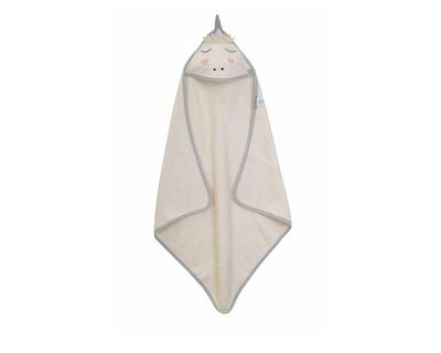 Organic terry hooded towel unicorn thumb
