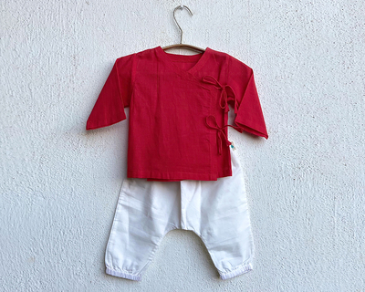 Kids unisex organic red angrakha and white pants thumb