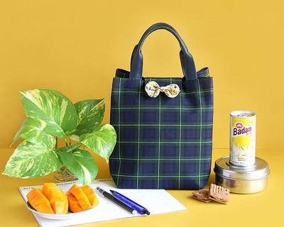 Lunch bag multipurpose bag blue and green checks thumb