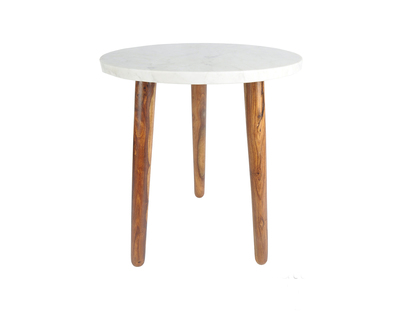 White marble and sheesham wood round shape bed side end table for living room three legs table thumb