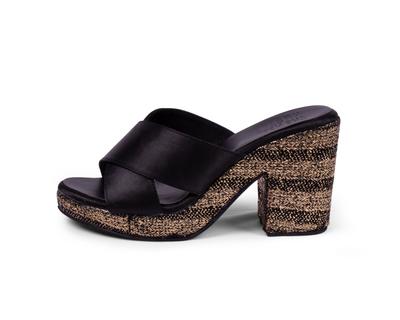 Black and gold block heels erato thumb