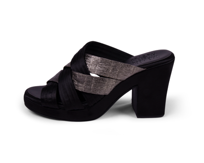 Black and silver block heel thumb
