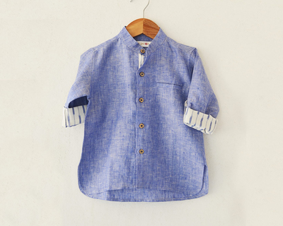 Light blue linen ikat boys shirt thumb