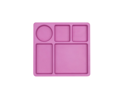 Bamboo 5 portioned divided plate for kids flamingo pink thumb