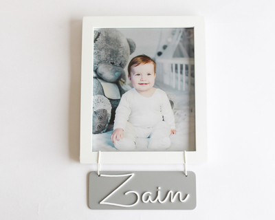 Personalized name frame grey thumb