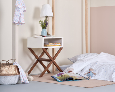 Bedside table with storage organic decor thumb