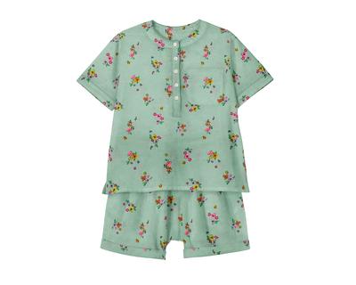 Green floral organic kids pajama shorts set thumb