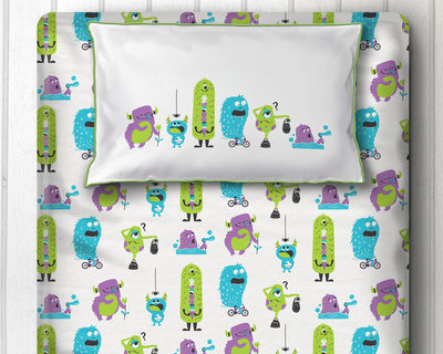 Silly monsters single double bedsheet with pillow cover green thumb