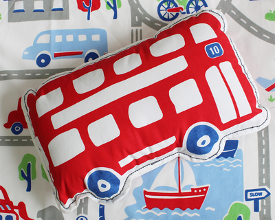 Busy street bus shape cushion thumb