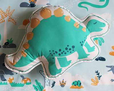 Snooze roar dinosaur stegosaurus shape cushion thumb