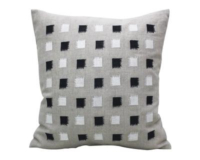 Black white square block embroidered cushion cover thumb