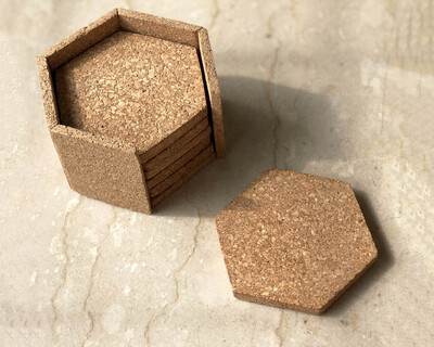 Hex coasters with stand set of 6 thumb